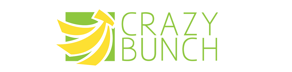 Crazy Bunch Logo Three Bananas on Green Background