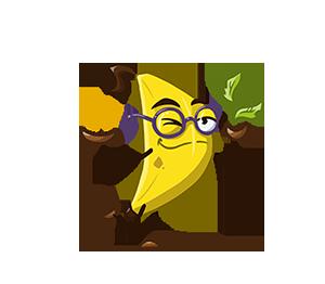 Alara as a banana, drinking tea