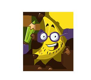 Jo as a banana, holding a pencil