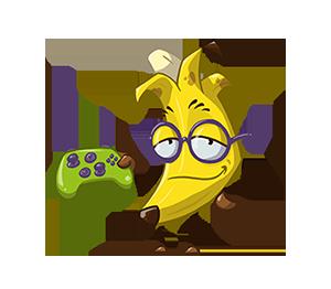 Malte as a banana, holding a controller