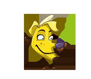Kerstin as a banana, drinking tea